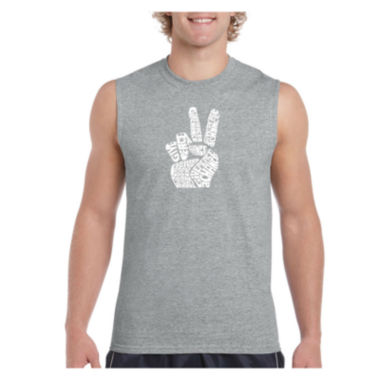 Los Angeles Pop Art Men's Peace Fingers SleevelessT-Shirt - Big and Tall