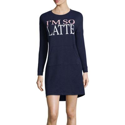 Peace, Love, and Dreams Long Sleeve Sweaterknit Nightshirt-Juniors