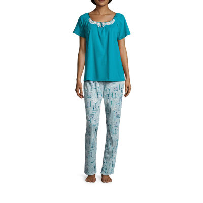 Adonna Short Sleeve Knit Pant Pajama Set