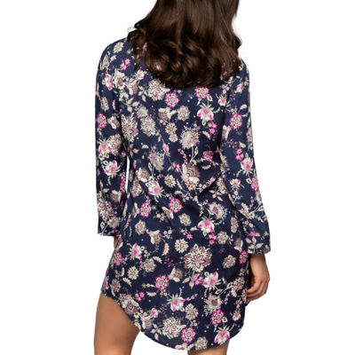 Dorina Bloomsbury Microfiber 3/4 Sleeve V Neck Floral Nightshirt-Average + Full Figure
