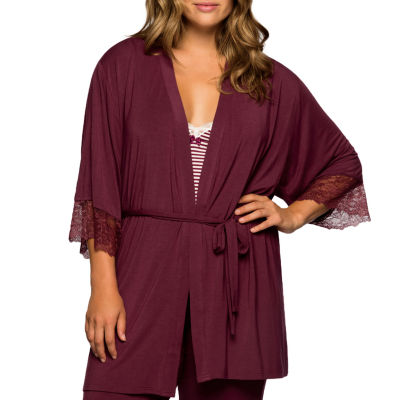 Dorina Cordelia Super Soft Lace Trim Wrap Tie Robe