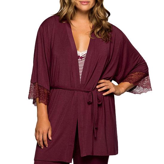 Dorina Cordelia Super Soft Lace Trim Wrap Tie Robe