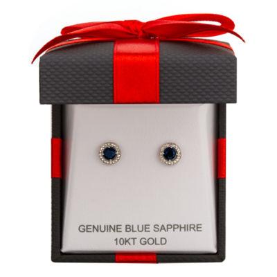 Diamond Accent Genuine Blue Sapphire 10K White Gold 4mm Stud Earrings