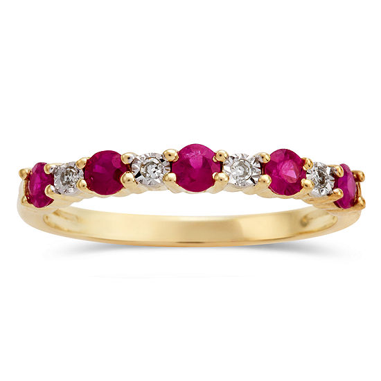 Diamond Accent Lead Glass-Filled Red Ruby 10K Gold Band