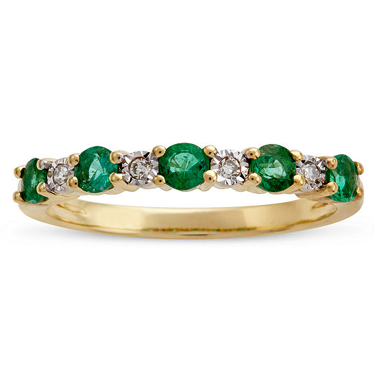 Womens Diamond Accent Genuine Green Emerald 10K Gold Band