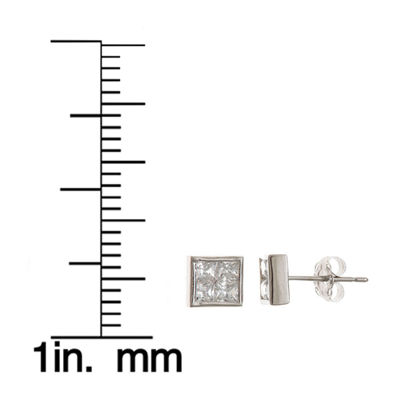 White Cubic Zirconia 14K Gold 6mm Square Stud Earrings