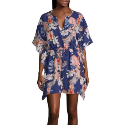 Porto Cruz Floral Crepe Swimsuit Cover-Up Dress