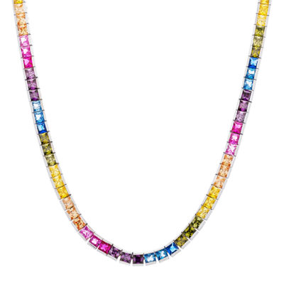 Diamonart Womens Multi Color Cubic Zirconia Sterling Silver Tennis Necklaces