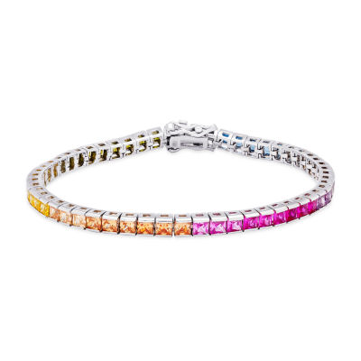 DiamonArt® Rainbow Cubic Zirconia Sterling Silver 7.25 Inch Tennis Bracelet