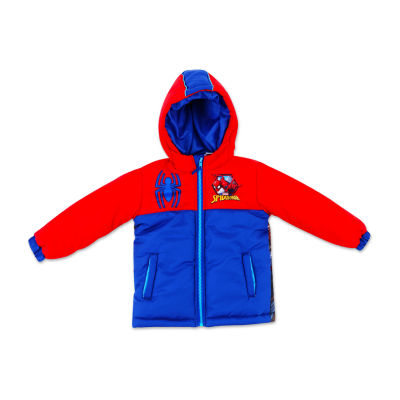 Outerwear Spiderman Heavyweight Logo Puffer Jacket - Boys-Big Kid