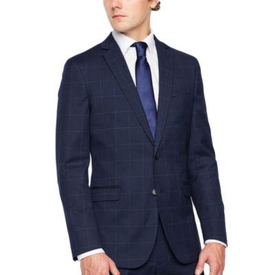 JF J.Ferrar Windowpane Classic Fit Stretch Suit Jacket