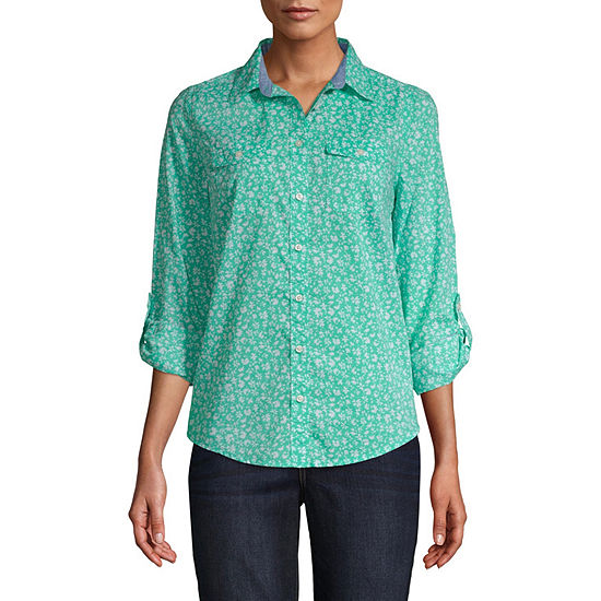 St. John's Bay Classic Shirt Womens Long Sleeve Button-Front Shirt