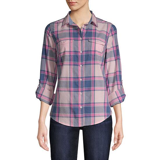 St. John's Bay Classic Shirt Womens Long Sleeve Button-Front Shirt