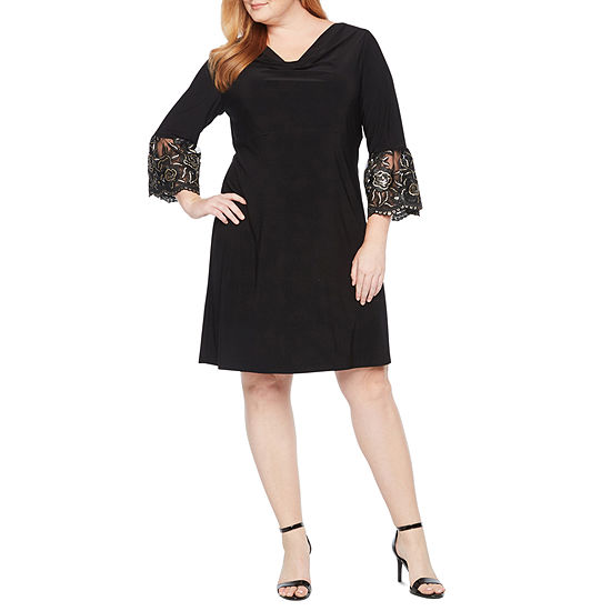 Scarlett 3/4 Sleeve Embroidered Shift Dress - Plus