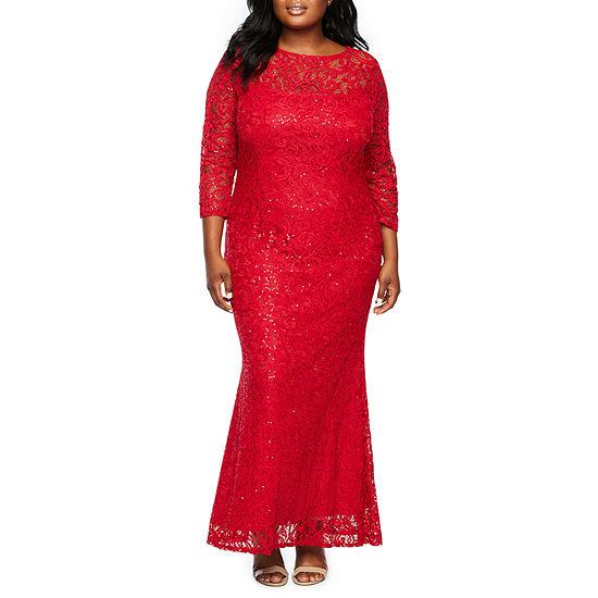 Blu Sage 3/4 Sleeve Sequin Gown - Plus