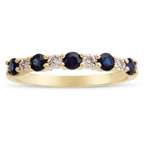 Womens Diamond Accent Genuine Blue Sapphire 10K Gold Band