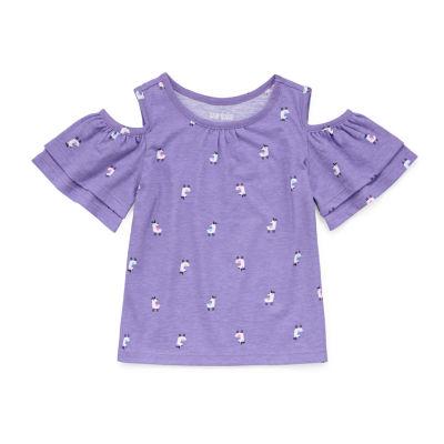 Okie Dokie Girls Crew Neck Short Sleeve Blouse Toddler