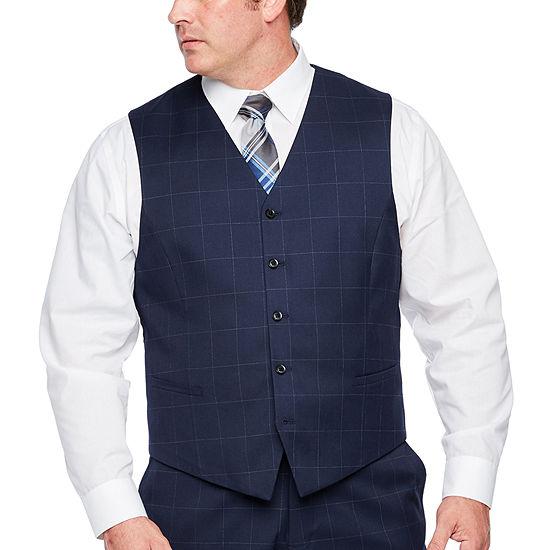 JF J.Ferrar - Big and Tall Windowpane Classic Fit Suit Vest