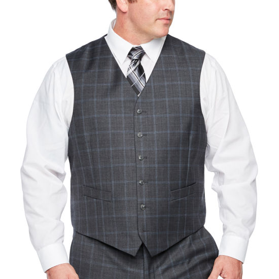 Stafford Checked Classic Fit Stretch Suit Vest - Big and Tall