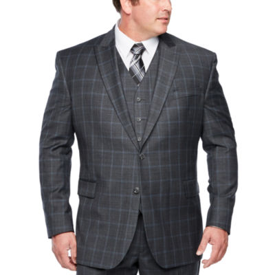 Stafford Travel Checked Slim Fit Stretch Suit Jacket-Big and Tall