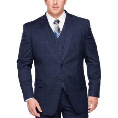 JF J.Ferrar Windowpane Classic Fit Stretch Suit Jacket-Big and Tall
