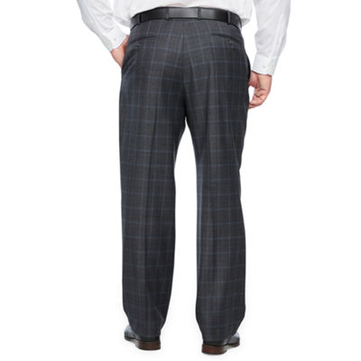 Stafford Checked Classic Fit Stretch Suit Pants - Big and Tall