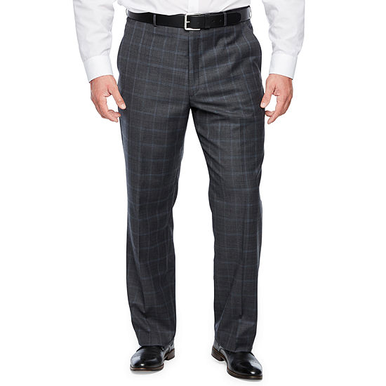 Stafford Mens Checked Stretch Classic Fit Suit Pants - Big and Tall