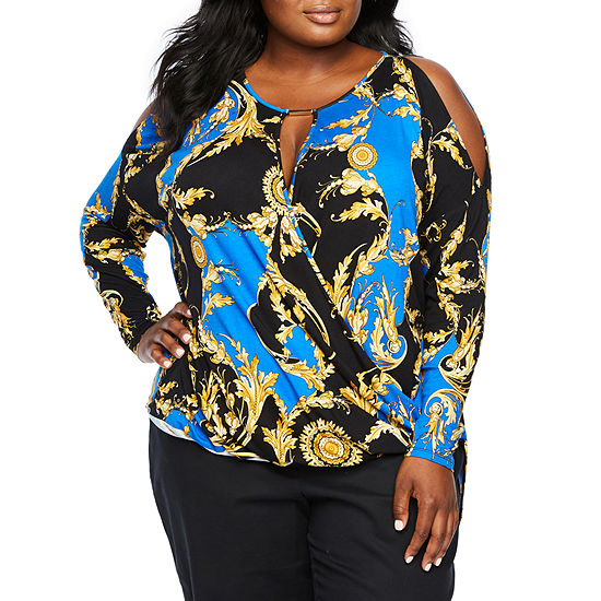 Bold Elements Womens Long Sleeve Knit Blouse-Plus