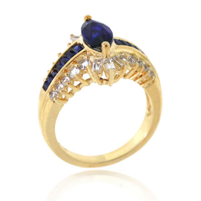 Blue & White Lab-Created Sapphire 14K Gold Over Silver Cocktail Ring