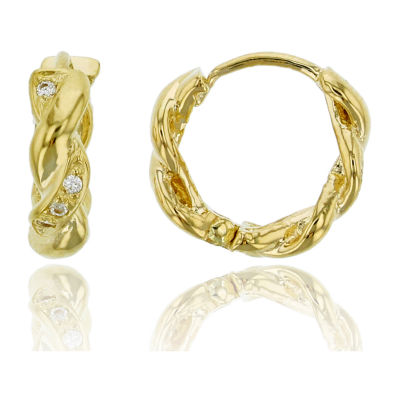 1/10 CT. T.W. Simulated White Cubic Zirconia 14K Gold 10mm Hoop Earrings