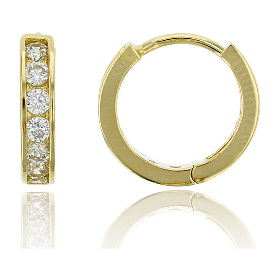 7 8 Ct Tw Simulated White Cubic Zirconia 14k Gold 12mm Hoop Earrings