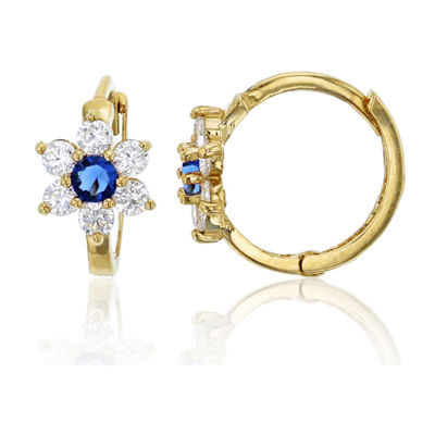 5/8 CT. T.W. Simulated Multi Color Cubic Zirconia 14K Gold 10mm Flower Hoop Earrings