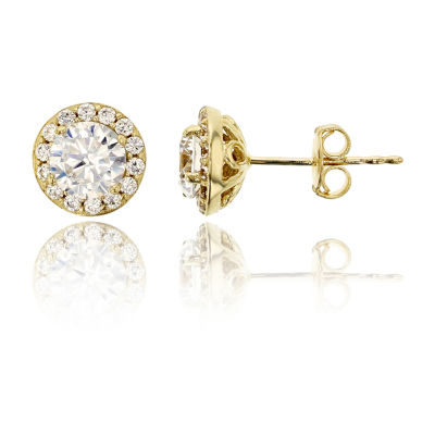 1 7/8 Ct. T.W. Simulated White Cubic Zirconia 14K Gold 7.4mm Round Stud Earrings