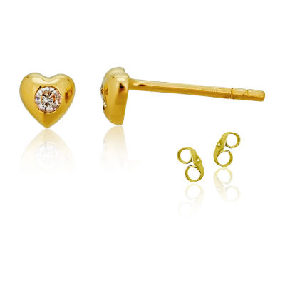 Diamond Accent White Cubic Zirconia 14K Gold 4mm Heart Stud Earrings
