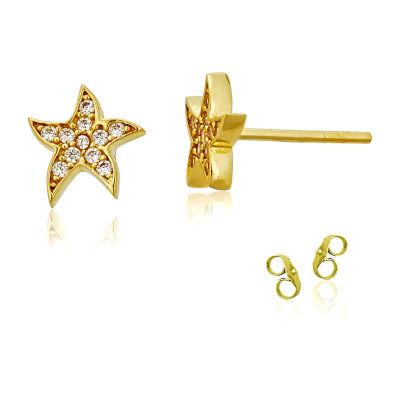 1/5 CT. T.W. White Cubic Zirconia 14K Gold 8.5mm Star Stud Earrings