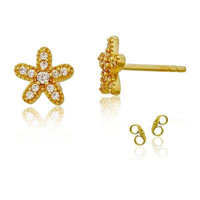 1/4 CT. T.W. White Cubic Zirconia 14K Gold 8mm Flower Stud Earrings
