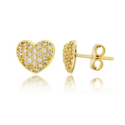 1/5 CT. T.W. White Cubic Zirconia 14K Gold 8.5mm Heart Stud Earrings