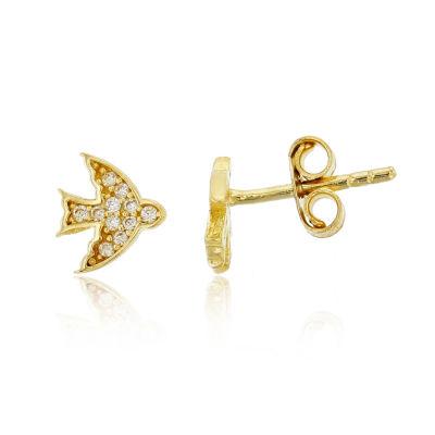 1/5 CT. T.W. White Cubic Zirconia 14K Gold 8mm Stud Earrings