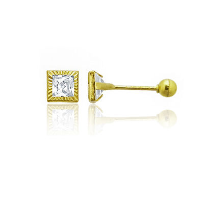 5/8 CT. T.W. White Cubic Zirconia 14K Gold 3mm Square Stud Earrings