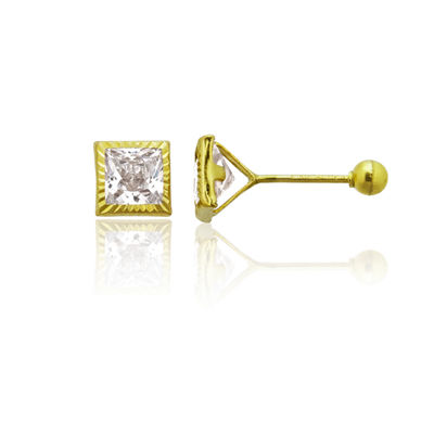 1 1/4 CT. T.W. White Cubic Zirconia 14K Gold 4mm Square Stud Earrings