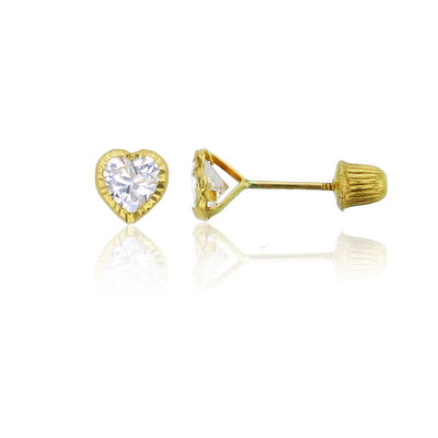 7/8 CT. T.W. White Cubic Zirconia 14K Gold 4mm Heart Stud Earrings