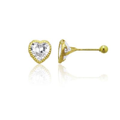 2 1/2 CT. T.W. White Cubic Zirconia 14K Gold 6mm Heart Stud Earrings