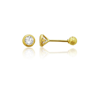 1/3 CT. T.W. White Cubic Zirconia 14K Gold 3mm Round Stud Earrings