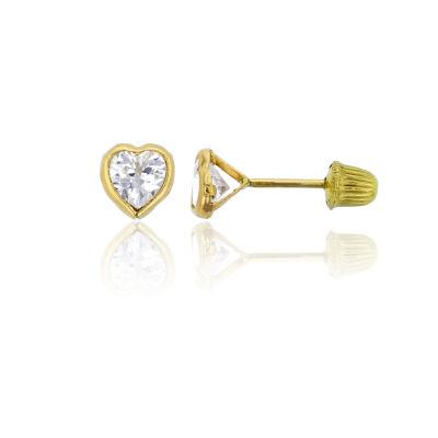 7/8 CT. T.W. White Cubic Zirconia 14K Gold 4mm Heart Stud Earrings