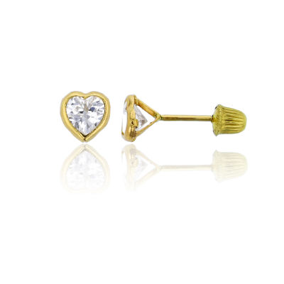 2 1/2 CT. T.W. White Cubic Zirconia 14K Gold 6mm Heart Stud Earrings