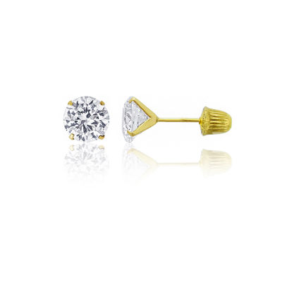 2 3/4 CT. T.W. White Cubic Zirconia 14K Gold 6mm Round Stud Earrings