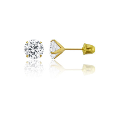 4 CT. T.W. White Cubic Zirconia 14K Gold 7mm Round Stud Earrings
