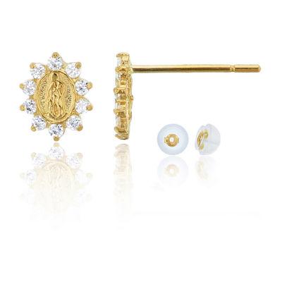1/5 CT. T.W. White Cubic Zirconia 14K Gold 7mm Oval Stud Earrings