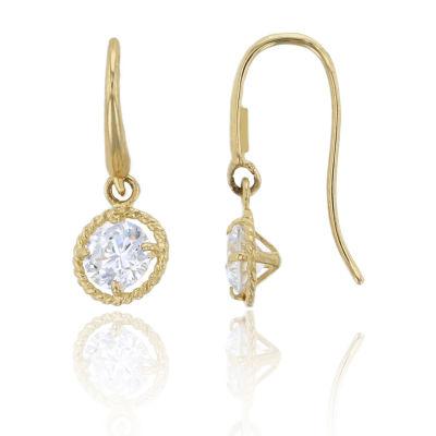 3/4 CT. T.W. White Cubic Zirconia 14K Gold Round Drop Earrings