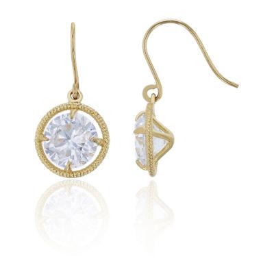 2 3/4 CT. T.W. White Cubic Zirconia 14K Gold Round Drop Earrings